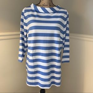 TALBOTS Cuffed Neckline Striped Top 1X